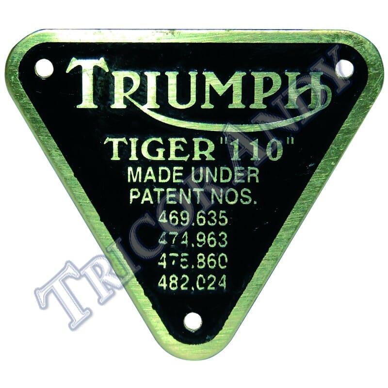 70-4016D TRIUMPH TIGER 90 BRASS PATENT PLATE W// SCREWS TRI-COR